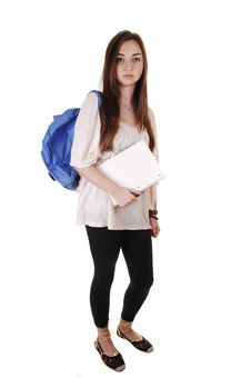 Free Schoolgirl With Backpack. Stock Photo - 17845210