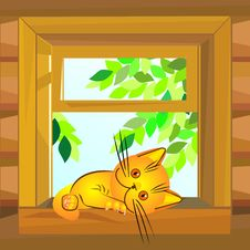 Free Vector Red Cat Lying On The Windowsill Royalty Free Stock Photos - 17845878