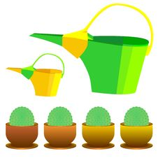 Free Vector Watering Can And Cactus In A Pot Stock Photos - 17845913