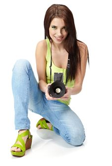 Young Woman With Camera. Stock Image
