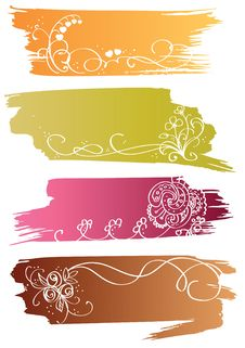 Free Floral Colorful Banners Royalty Free Stock Photo - 17847005