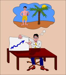 Businessman Thinking To A Vacation Royalty Free Stock Photo