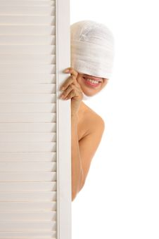 Free Young Woman Looks Out Because Of Door Stock Image - 17847061