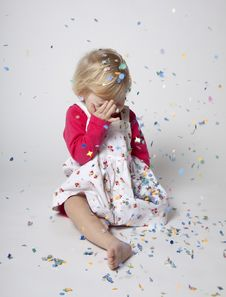 Free Cute Girl With Confetti Royalty Free Stock Photography - 17847217