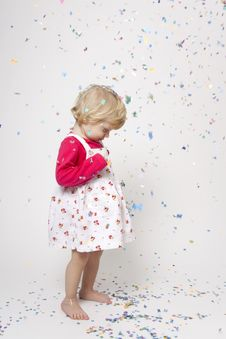 Free Cute Girl With Confetti Royalty Free Stock Photo - 17847255