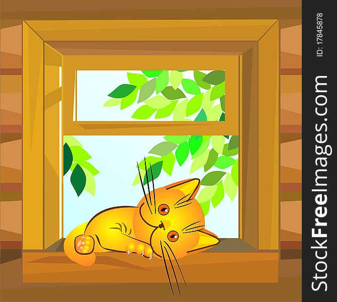 vector Red cat lying on the windowsill