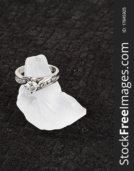 Engagement Ring on black