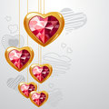 Free Ruby Gold Hearts Stock Images - 17851404