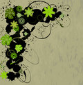 Free Spring Grunge A Banner With Green Flowers Stock Images - 17852664