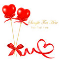 Free Two Valentine Hearts And Red Gift Bow With Ribbons Royalty Free Stock Photo - 17854125