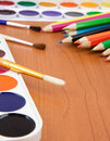 Free Painters Palette With Brush And Pencils Royalty Free Stock Image - 17855096
