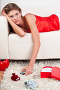 Free Laying Girl Holding A Remote Control Stock Image - 17857961