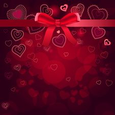 Free Contour Hearts On Dark Red Background Royalty Free Stock Photo - 17850525