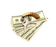 Free Keys And Stack Of Dollars Stock Photography - 17850782