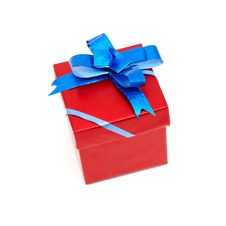 Free Red Gift Box With Blue Bow Royalty Free Stock Photo - 17850835