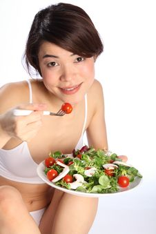 Free Beautiful Japanese Girl Eating Healthy Salad Meal Stock Photos - 17850983