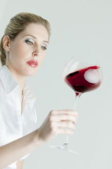 Free Woman With Red Wine Stock Photo - 17851120