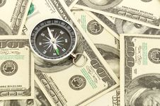 Free Dollars And Compass. Royalty Free Stock Photo - 17851175