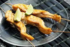 Salmon Skewers Royalty Free Stock Photography