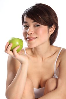 Free Beautiful Japanese Woman With Green Apple Fruit Royalty Free Stock Photo - 17851345