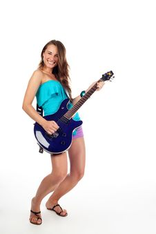 Free Teenage Woman Playing Electric Guitar. Isolated Stock Image - 17852791