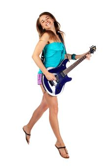Woman Jumping With An Electric Guitar. Isolated Royalty Free Stock Photos