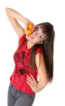 Free Smiling Girl With Tangerines Royalty Free Stock Photos - 17852818