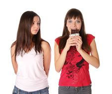 Free Two Girls With Chocolate Royalty Free Stock Images - 17852819
