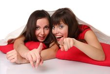 Two Teenage Girls Are Showing To Us Stock Photos