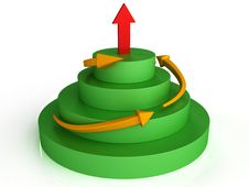 Orange Arrows On The Green Circles At The Top №2 Stock Photography