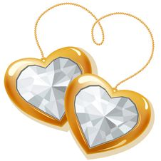 Free Two Gold Hearts With Diamonds Stock Photo - 17853440