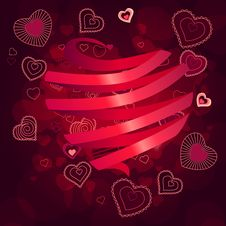 Free Contour Hearts On Dark Red Background Stock Photography - 17853472