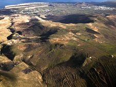 Free Aerial Of Lanzarote With Wind Power Plant Stock Images - 17853614
