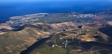 Free Aerial Of Lanzarote With Wind Power Plant Stock Photography - 17853642