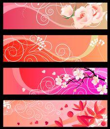 Free Floral Spring Red Banners Royalty Free Stock Image - 17853776