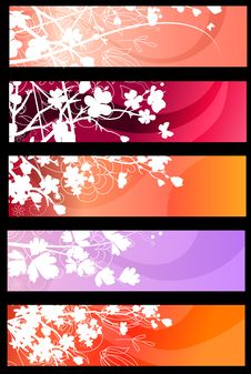 Free Floral Spring Red Banners Royalty Free Stock Images - 17853839