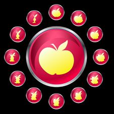 Free Pink Buttons With Apple Stock Photos - 17854043