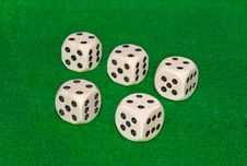Five Dices On On Green Casino Table Royalty Free Stock Photo