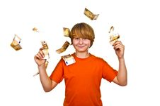 Free Euros Flying Around A Boys Head Royalty Free Stock Image - 17854946