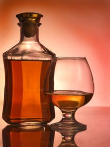 Free Cognac Glass And Bottle Stock Photography - 17854972