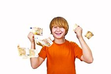Free Euros Flying Around A Boys Head Royalty Free Stock Images - 17854989