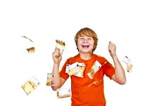 Free Euros Flying Around A Boys Head Stock Photography - 17855002