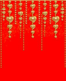 Background With A Gold Beads And Hearts Stock Photo