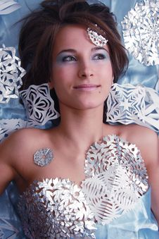 Free Portrait Of Young Girl With Cut Snowflakes Stock Photo - 17855340