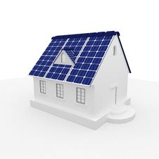 Solar Energy Panels On A Roof Of House. Stock Photos
