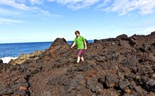 Free Boy Walking In Volcanic Area Stock Photography - 17857272
