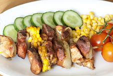 Free Chicken And Vegetable Kabobs Stock Photography - 17857842