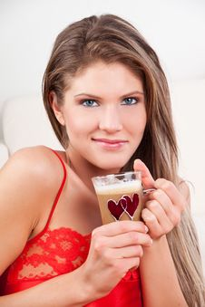 Free Beauty, Young Girl Holding A Cup Of Coffee Stock Images - 17857914
