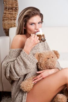 Free Beauty Girl Drinking A Cup Of Coffee Stock Image - 17858021