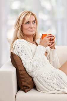 Free Beauty, Blondie Woman In A Sofa Stock Photos - 17858143